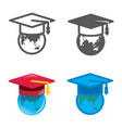 degree cap designed icons set vector image