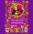 dia de los muertos skeleton with mexican guitar vector image vector image