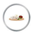 Diced cheese feta with tomatoes and olives on the vector image vector image