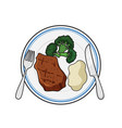 dinner plate meal vector image vector image