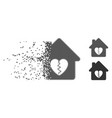 divorce house heart moving pixel halftone icon vector image vector image