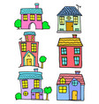 doodle of house set colorful design vector image vector image