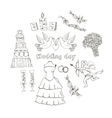 Doodle wedding set for invitation cards vector image vector image