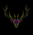 engraving stylized psychedelic deer on black vector image vector image