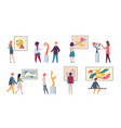 exhibition visitors young tourists looking art vector image vector image