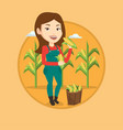 farmer collecting corn vector image vector image