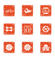 fitness competence icons set grunge style vector image