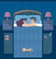 flat design of sleeping married couple at bedroom vector image vector image