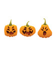 funny smiling halloween pumpkins in different vector image vector image