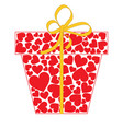 gift box with bow made of red hearts isolated on vector image vector image