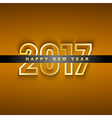 Golden 2017 New Year greeting card vector image