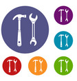 hammer and wrench icons set vector image vector image