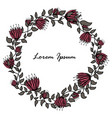 hand-drawn round flower frame on a white vector image vector image