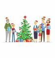 happy family celebrates christmas - cartoon people vector image