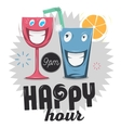 Happy Hour Funny Cartoon Smiling Glass Characters vector image vector image
