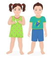 Happy little boy and girl kids together isolated vector image