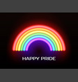 happy pride greeting card with neon lgbt vector image