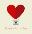 happy valentines day typographic and heart baloon vector image vector image