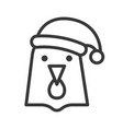 hen wearing santa hat outline icon editable stroke vector image vector image