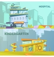 Hospital And Kindergarten Building Retro Cartoon vector image vector image