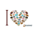 I love to read Symbol heart of book reading Many vector image vector image