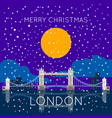 london bridge snowy merry christmas poster vector image
