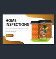 man with tools examines house roof poster vector image vector image