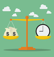 Money and Time balance on the scale vector image