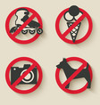 prohibited signs icons vector image vector image