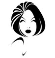short hair style icon logo women face on white vector image