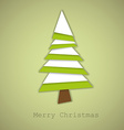 Simple christmas tree made from green and white vector image