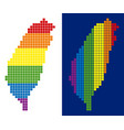 spectrum pixel dotted taiwan island map vector image