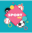 sport club square frame balls background im vector image vector image