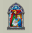 stained glass window christmas scene vector image
