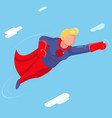 super hero modern flying sky clowds character flat vector image