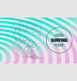surfer under wave outline surfing sport vector image