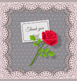 thank you card and rose flower on background lace vector image vector image