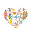 Tourist poster card with symbols netherlands