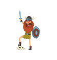 viking celebrating victory with sword and shield vector image