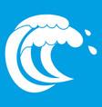 wave of sea tide icon white vector image vector image