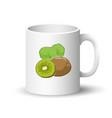 white mug with kiwifruit vector image