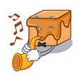 with trumpet caramel candies mascot cartoon vector image vector image