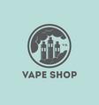 vape shop logo vaporizer clouds factory vector image
