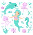 cute set little mermaid and underwater world vector image
