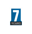 7 years anniversary icon birthday logo vector image vector image