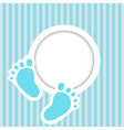 Blue card with baby feet vector image vector image