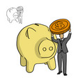 businessman holding big coin vector image vector image