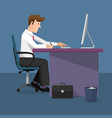 businessman working on computer vector image vector image