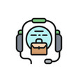 call center headset flat color icon vector image vector image