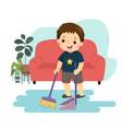 cartoon a little boy sweeping the vector image vector image
